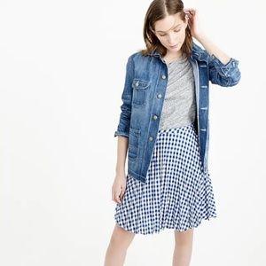 J Crew Petite Gingham Pleated Mini Skirt A Line Fl